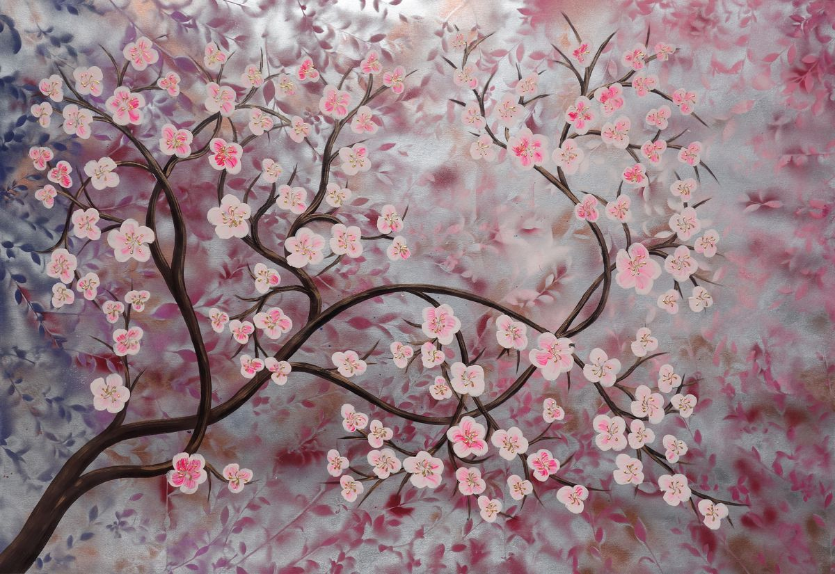 Cherry Blossom Tree Sakura Large Painting 110x160 Cm Unstretched Canvas Silver Pink Art By Artist Ksavera 110x160 Cm Blossoms Art Cherry Blossom Art Painting