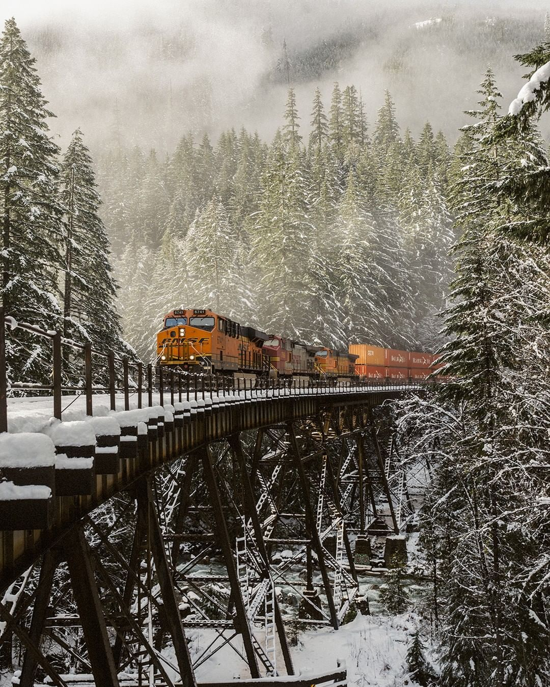 Bnsf Railway On Instagram On The Sixth Day Of Trainmas Bnsf Gave To Me Six Tracks A Laying Five Thousand Employees Four S Bnsf Railway Polar Express Train Hd wallpaper winter snow train forest