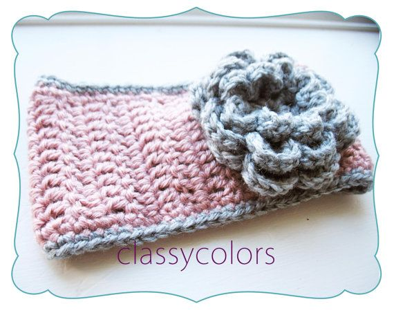 TODDLER EAR WARMER : rose and grey toddler crochet ear warmer ...