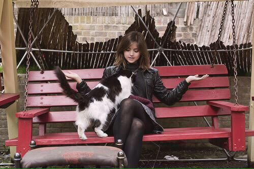 Jenna Coleman and a kitty cat.
