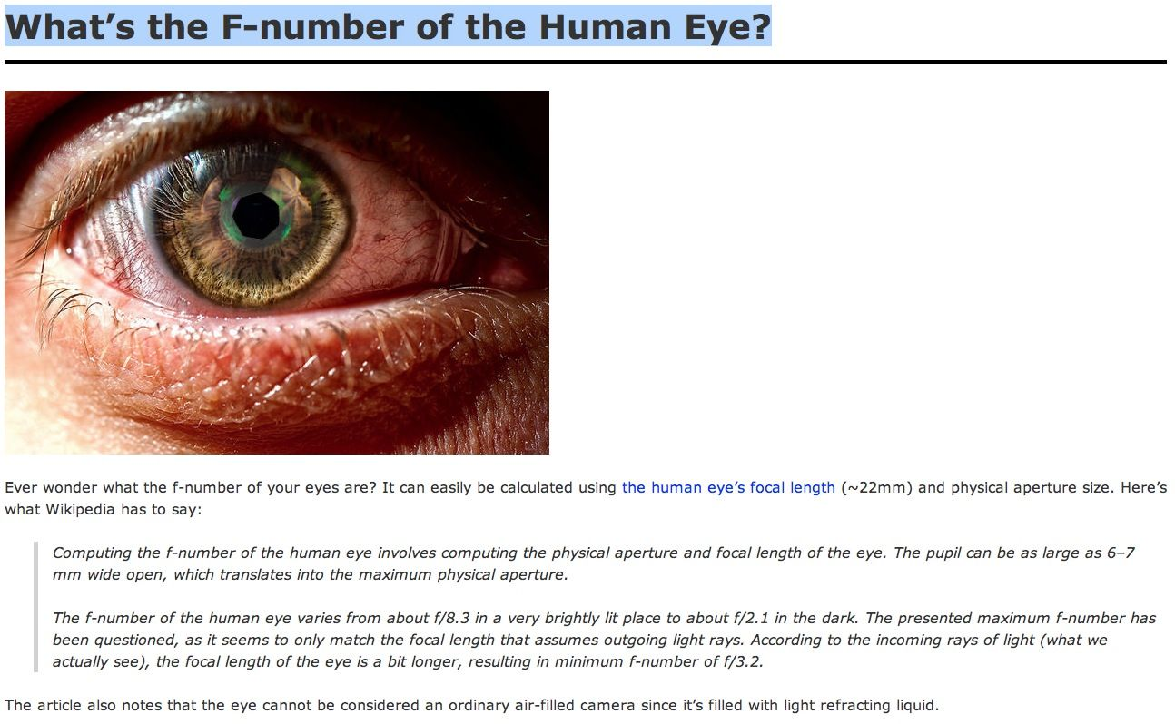 What\'s the F-number of the Human Eye?