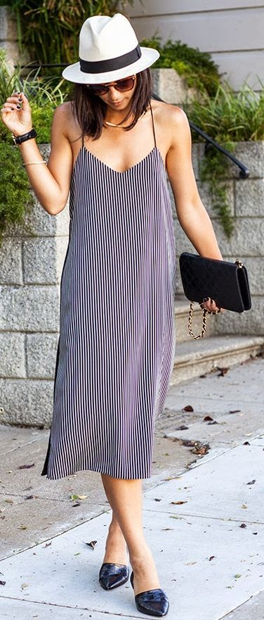 Tibi Navy And White Summer Stripe Midi Cami Dress