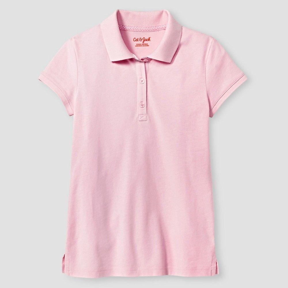Girls Short Sleeve Pique Polo Shirt Cat & Jack Pink Xxl Girl s