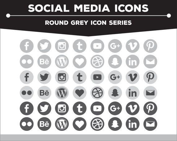 Social Media Icons Round White Gray Black Icon Pack Png Etsy Social Media Icons Snapchat Icon Social Media