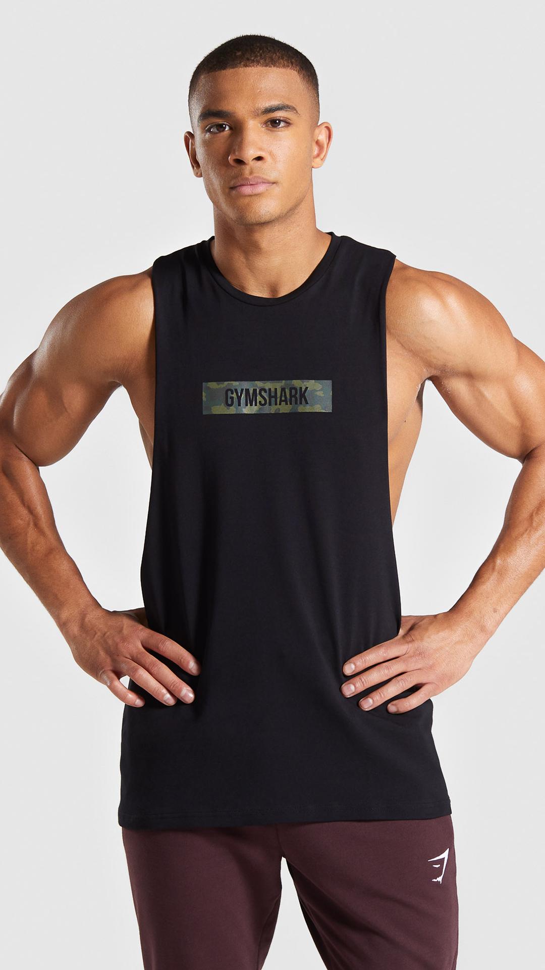 The Camo Logo Tank Black Gymshark Gym Sweat Train Perform Seamless Exercise Strength Strong Power Fitness Outfitinspiration Roupas Homens Camila