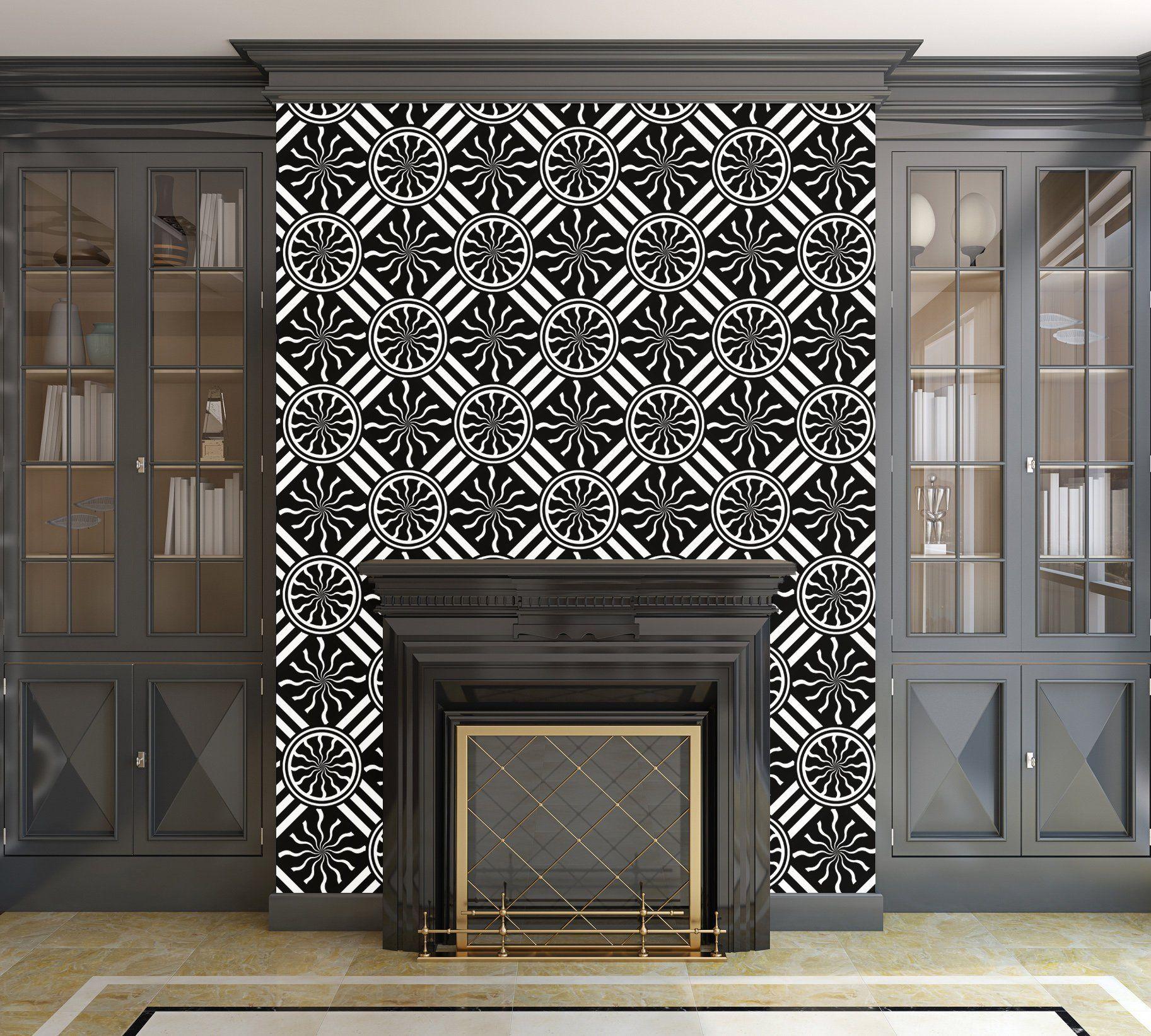 Wavy Black and White Pinwheel and Stripes Illustration