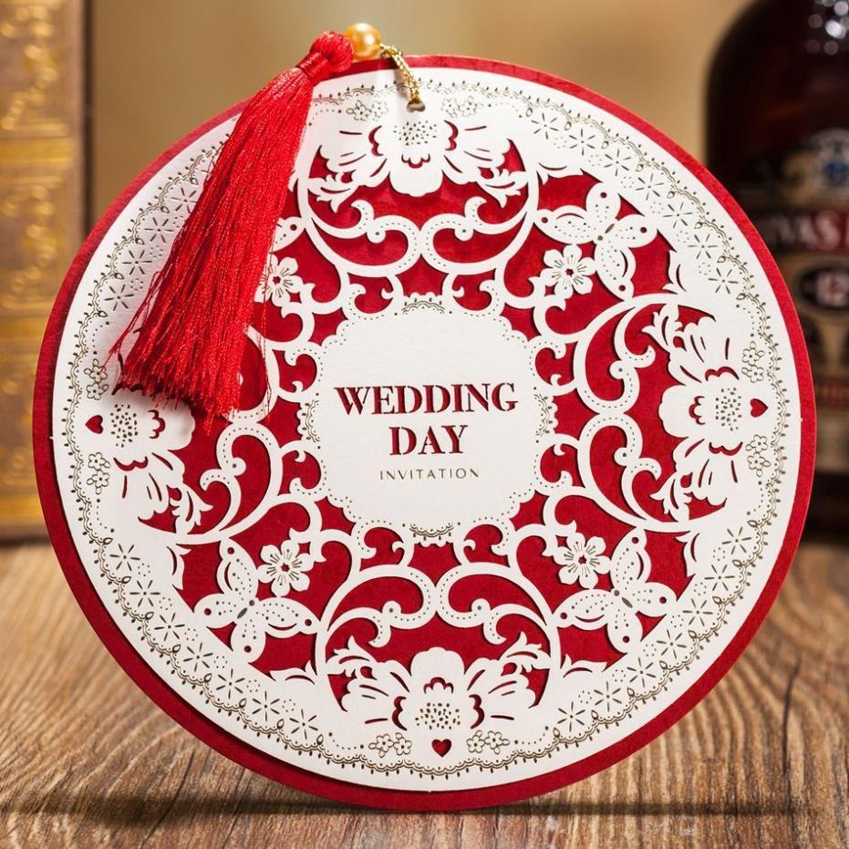 2015 New Arrival Round Shape Laser Cut Wedding Invitation Greeting ...