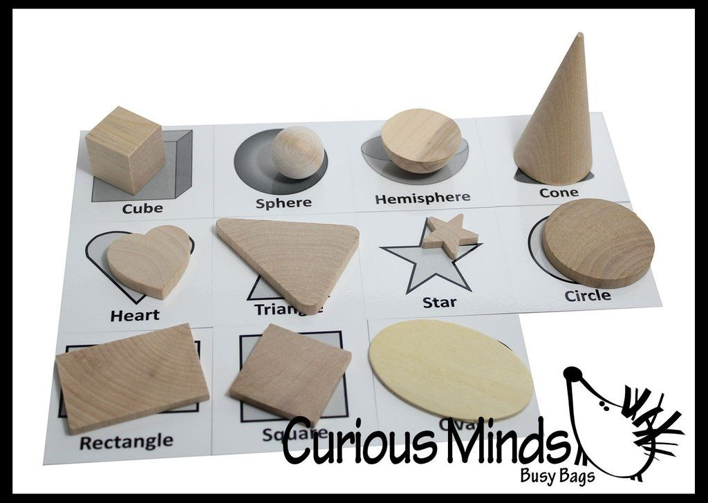 Wooden Geometric Solid Shapes Match with Matching Cards