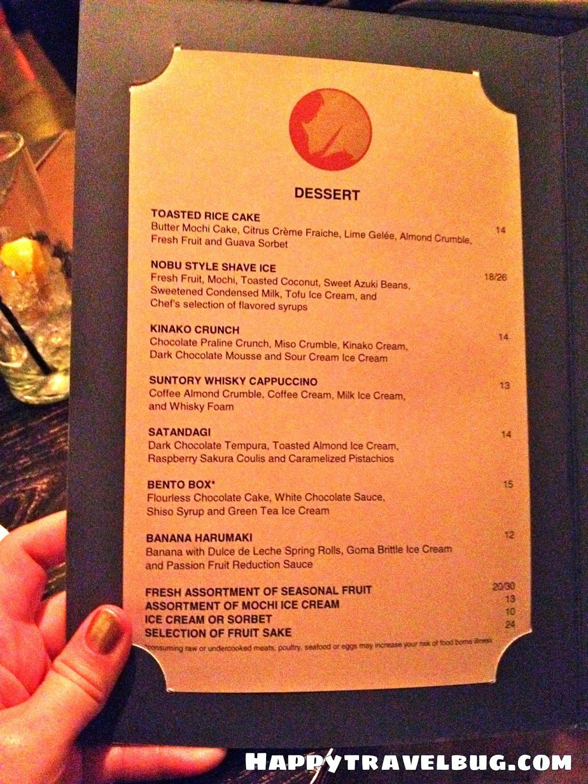 Dessert menu from Nobu restaurant in Las Vegas | Menus | Pinterest ...
