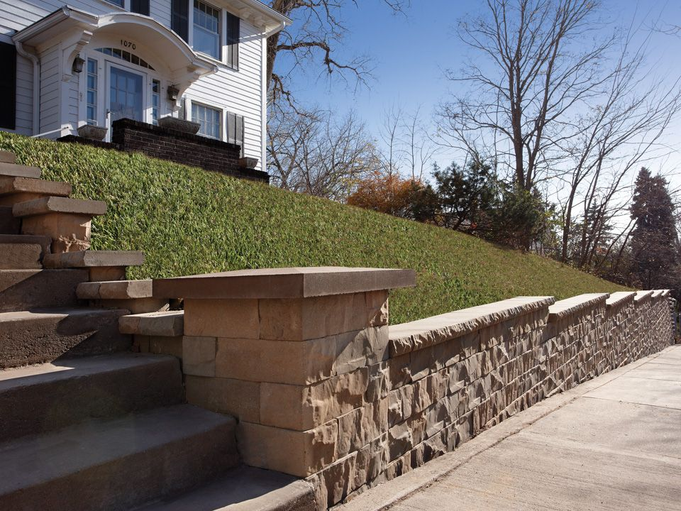 The Brisa 6 Retaining Wall With Column Adds Something Extra To The Staircase Up To The Front Door Retaining Wall Wall Systems Retaining Wall Blocks