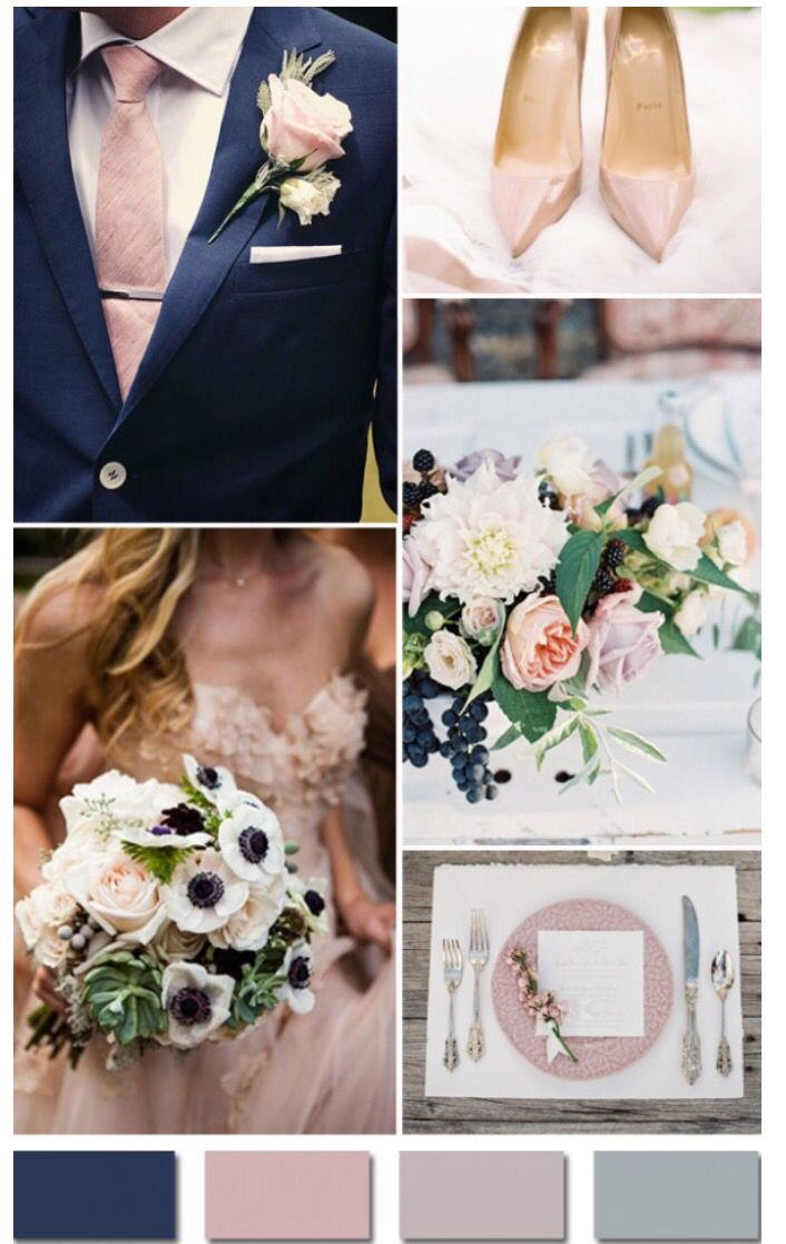 Color scheme blue slate with blush accents there were bells