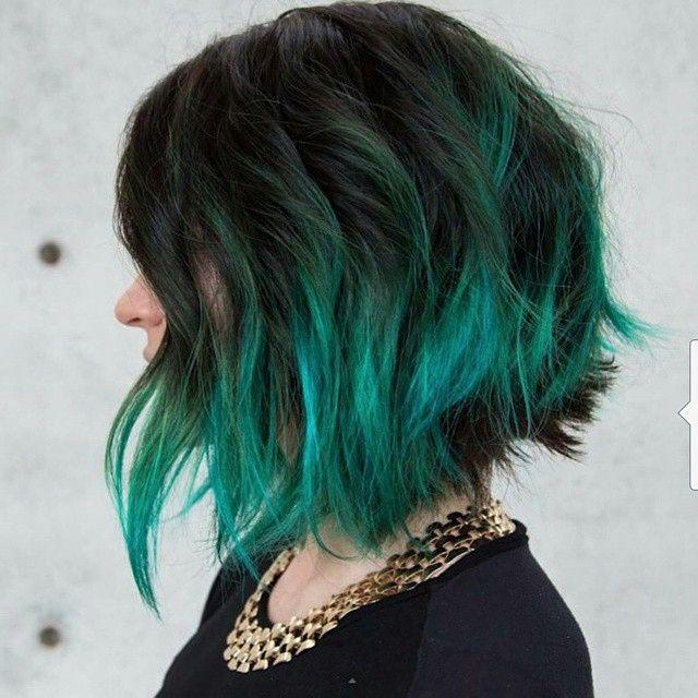 Dark Hair With Teal Green Tips Turquoise Hair Short Hair Color Hair Styles