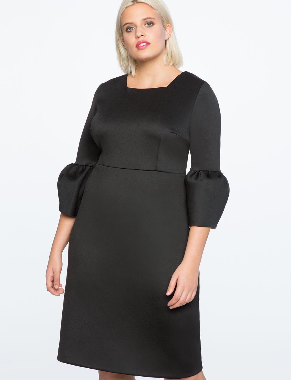 Bell Sleeve A Line Dress Women S Plus Size Dresses Eloquii