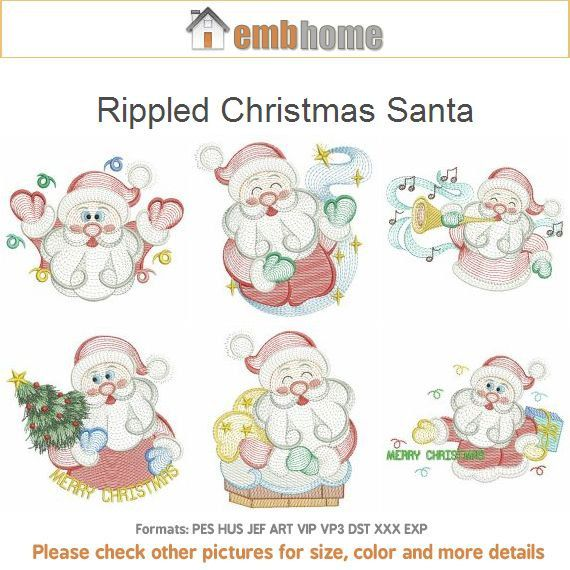 Rippled Christmas Santa Embroidery Designs Instant Download 4x4 5x5 6x6 hoop 10 designs SHE5043