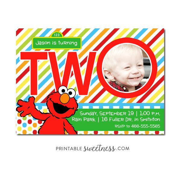 Sesame Street Birthday Party Invitation Custom Personalized Printable With Picture Elmo