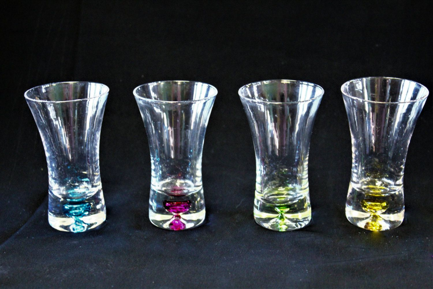 Vintage Colored Bubble Base 2 Oz. Hand Blown Crystal Shot/Cordial Glass Set  Of