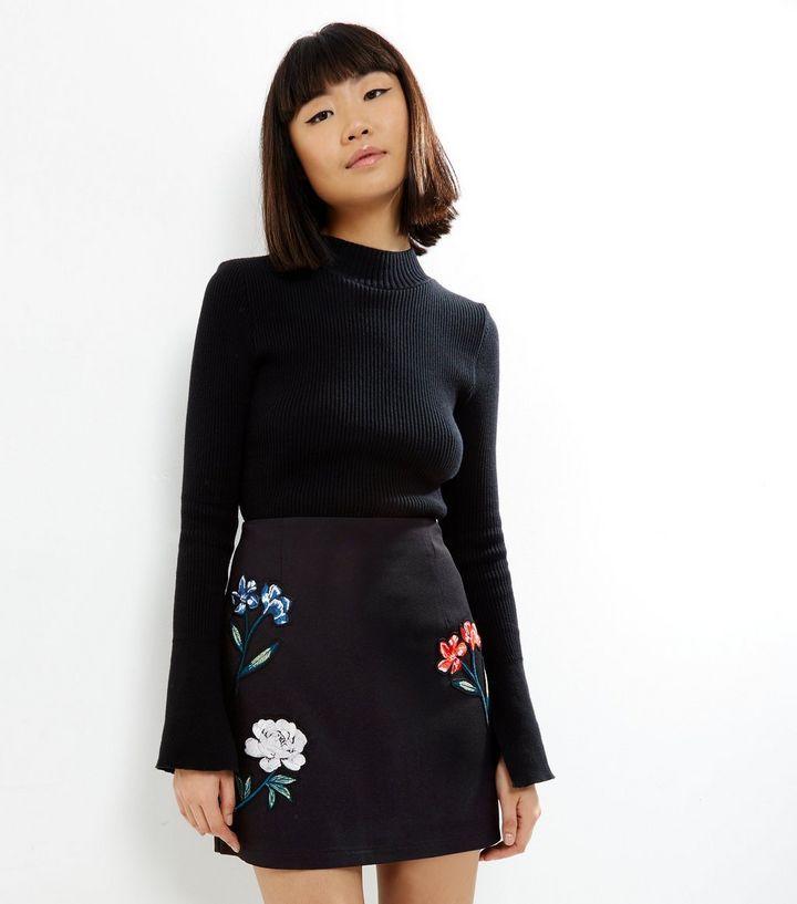 black-floral-embroidered-mini-skirt-.jpg (720×817)