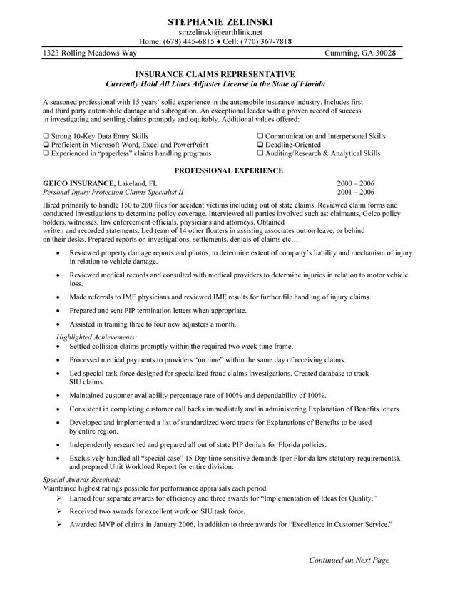 sample insurance claims resume - Doritmercatodos