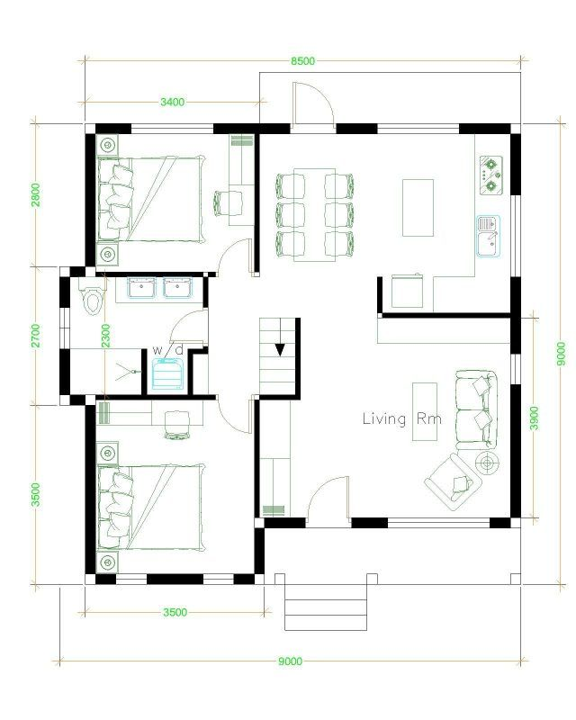 9x9 Room Design: House Plans 9x9 With 2 Bedrooms Gable Roof In 2020