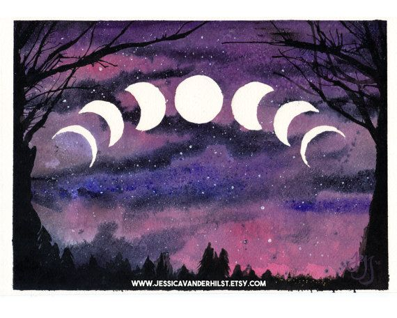 5 Quot X7 Quot Art Print Moon Phases With Overhanging Tree