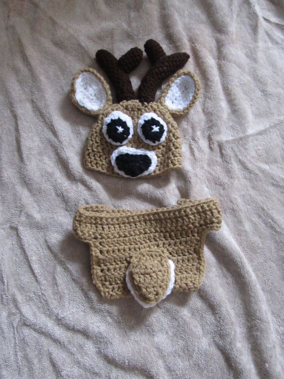 b6bb4f5ce7b crochet deer   buck hat and diaper cover set baby photo prop ...