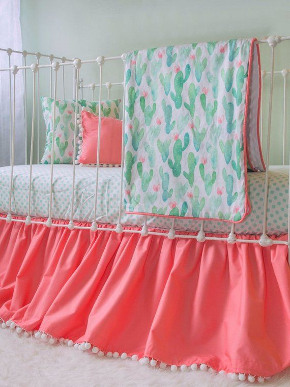 Cactus Blossom Baby Girl Bedding Coral And Mint Cactus Crib