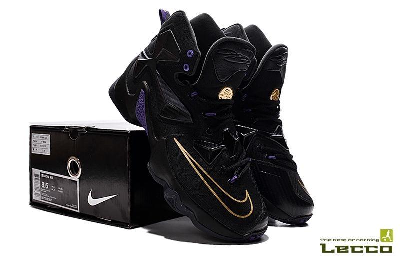 9b8b80c70f65d Обувь Мужские кроссовки Nike Lebron 13 Black Gold Purple ...