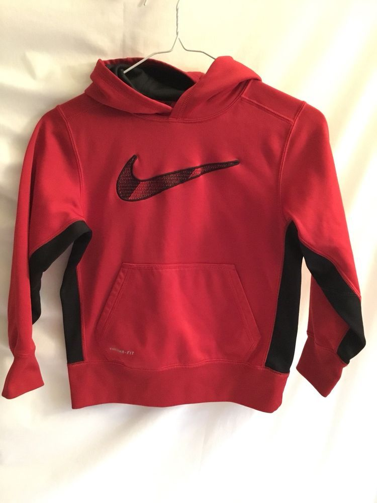 4f04d66c4f87 Nike Therma-Fit Hoodie Sweatshirt Boys Youth Small Pullover Big Logo  Nike   Hoodie