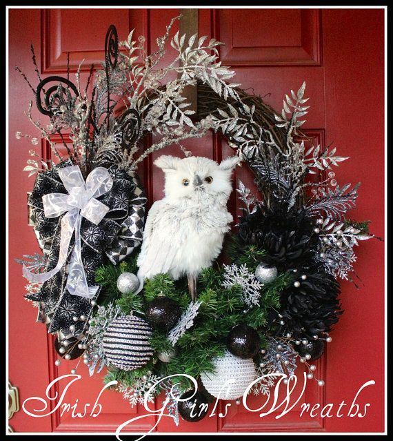 Owl Wreath, Christmas Wreath, Black and Silver Wreath, Glam Wreath,  Winter Wreath, Large wreath, 13 inch Silver Gray Owl, Woodland wreath