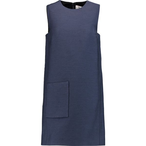 Victoria, Victoria Beckham Zip-embellished matelassé dress (1.120 BRL) ❤ liked on Polyvore featuring dresses, storm blue, zipper dress, victoria victoria beckham dress, loose fitting dresses, zip dress and blue zipper dress