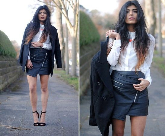 asymmetrical zip front skirt