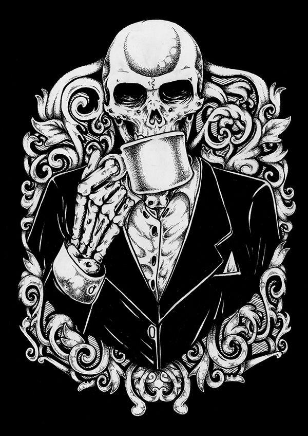 long live coffee on behance  skull art art skull tattoos