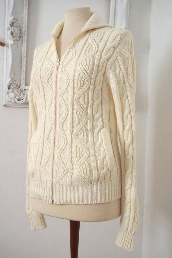 932bab2de3f5 Off White Acrylic Cardigan   Vintage Sweater   Women Sz S