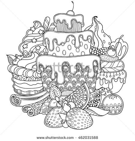 Magic Dessert Composition In Doodle Style Floral Ornate