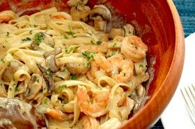 crockpot: mushroom and shrimp pasta  ingredients:  - 1 pkg 16oz pasta (fettuccine or linguine work best) - 1 pkg sliced fresh mushrooms - 1 pkg peeled and devined shrimp (i actually used frozen and it worked) - 3 oz of cream cheese - 1 can of cream of mushroom - 1 can of chicken broth - 1 can of cream of chicken and herbs - salt and pepper to taste - 1/2 stick of butter - (and i added a splash of moscato since i had it out and all)  directions:  combine everything except the cream cheese in…