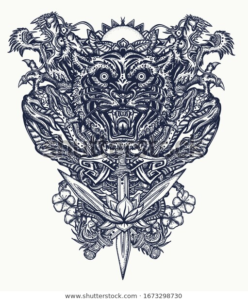 Dragons, tiger head, rising sun, sakura, lotus flowers and crossed swords. Oriental art. Ancient