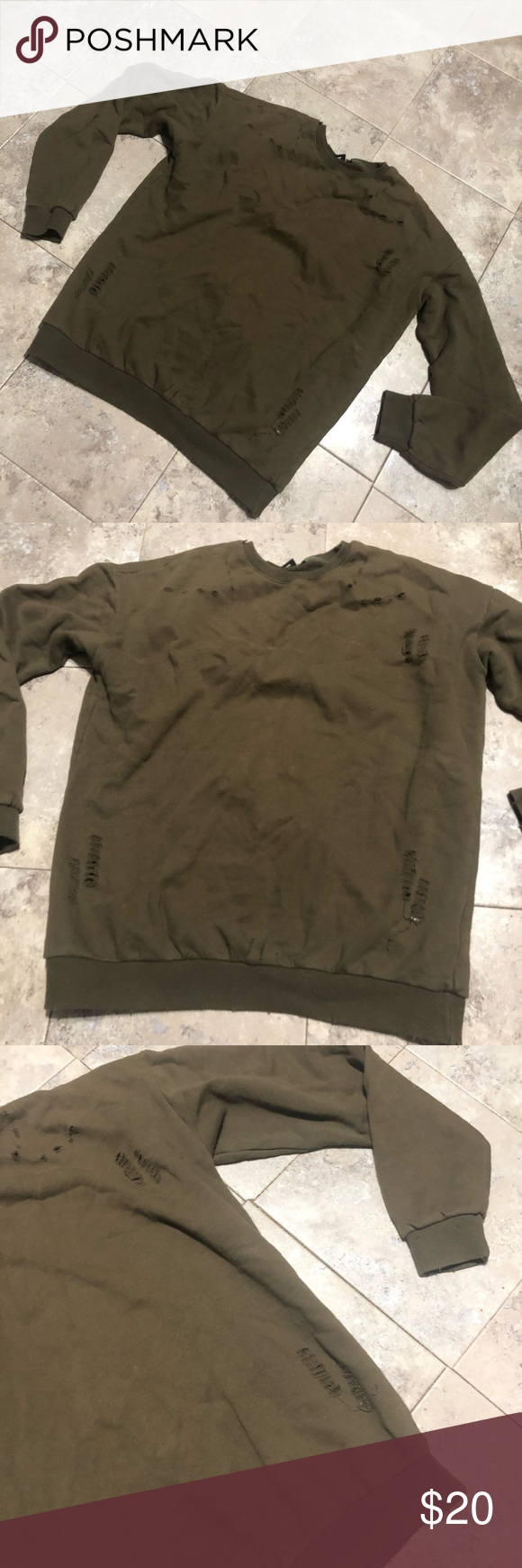 Pullover Sweatshirt Olive Or Army Green With Light Distressing Size Large Tags Nike Yeezy Adidas Adidas Tref Active Wear Clothes Design Sweatshirts [ 1740 x 580 Pixel ]