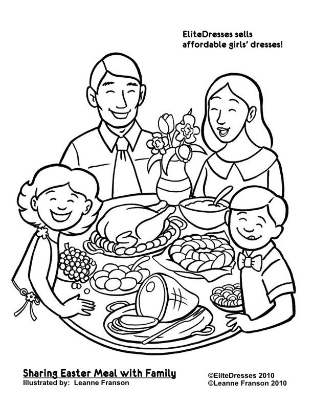 Sharing The Easter Meal With Family Coloring Pages Preschool Coloring Pages Family Drawing