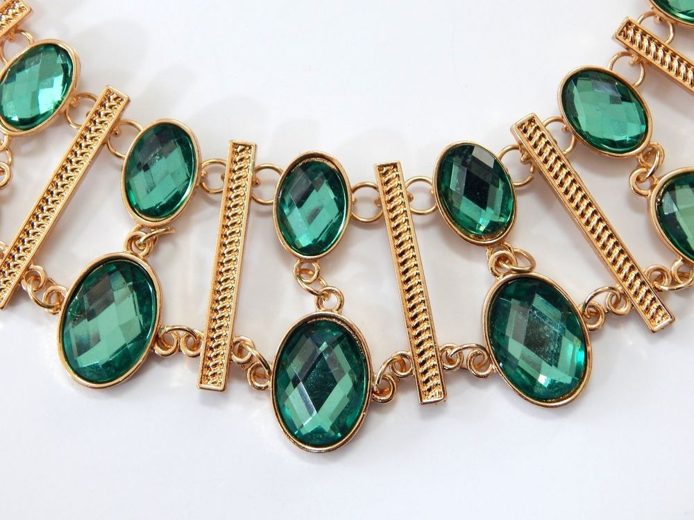 Macy's Gold Tone & Faceted Green Crystal New! #Macys #Statement