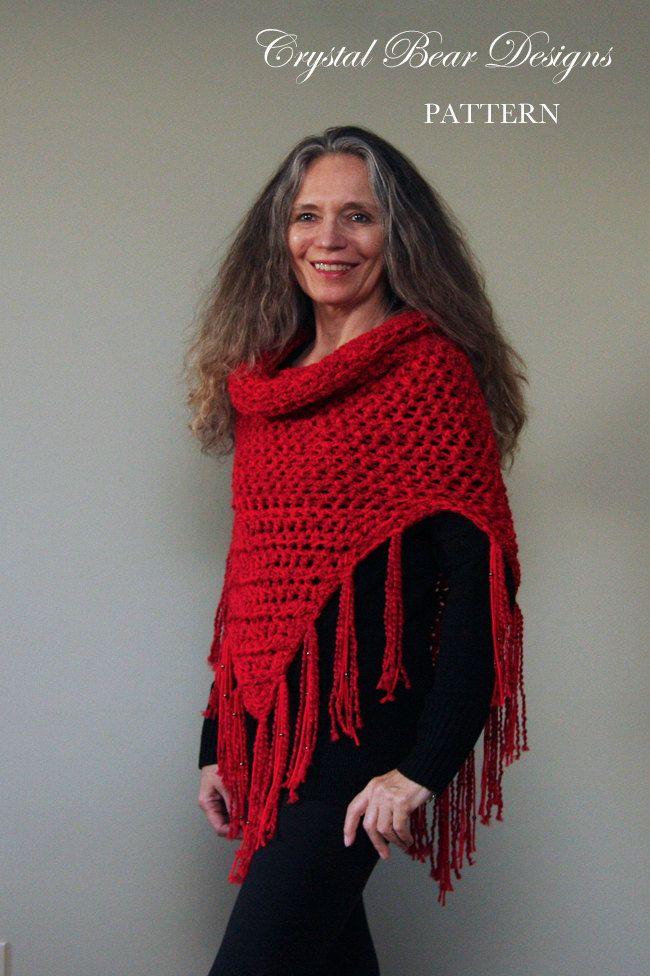 Hooded Cowl Crochet Pattern Hooded Scarf Poncho Beaded Tejido