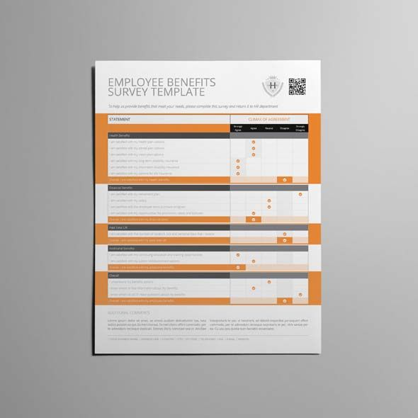 Employee Benefits Survey Form US Letter Template CMYK \ Print - survey form