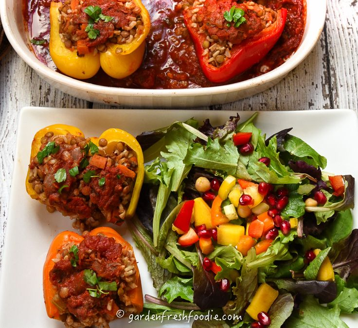 Peppers Stuffed With Italian Lentils Rice Recipe Stuffed Peppers Lentils And Rice Alternative Meals