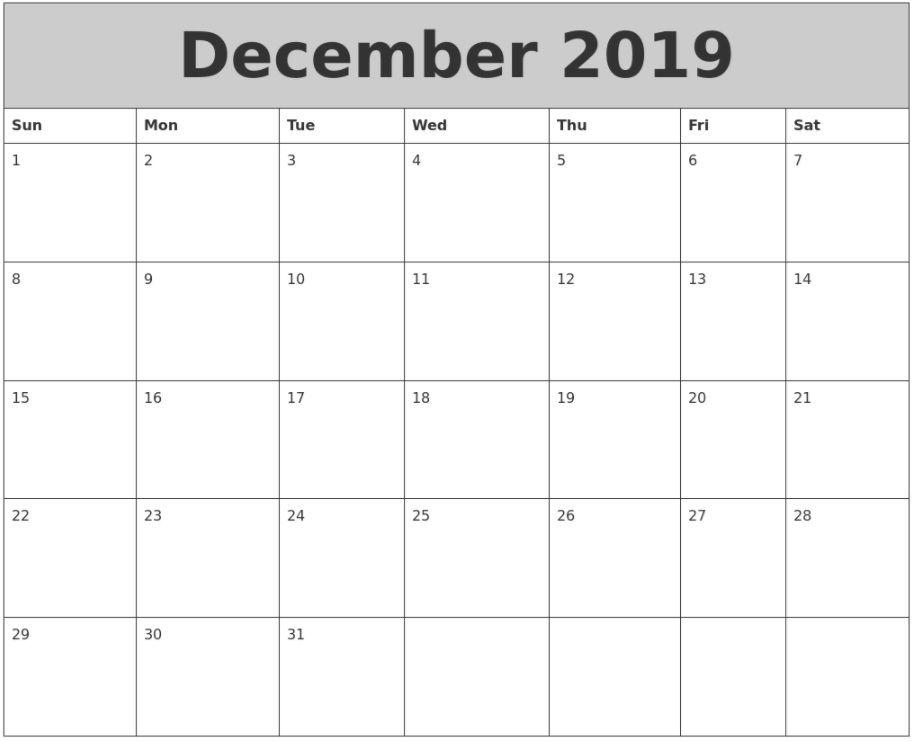 December 2019 Blank Calendar The calendar design , for 3 years