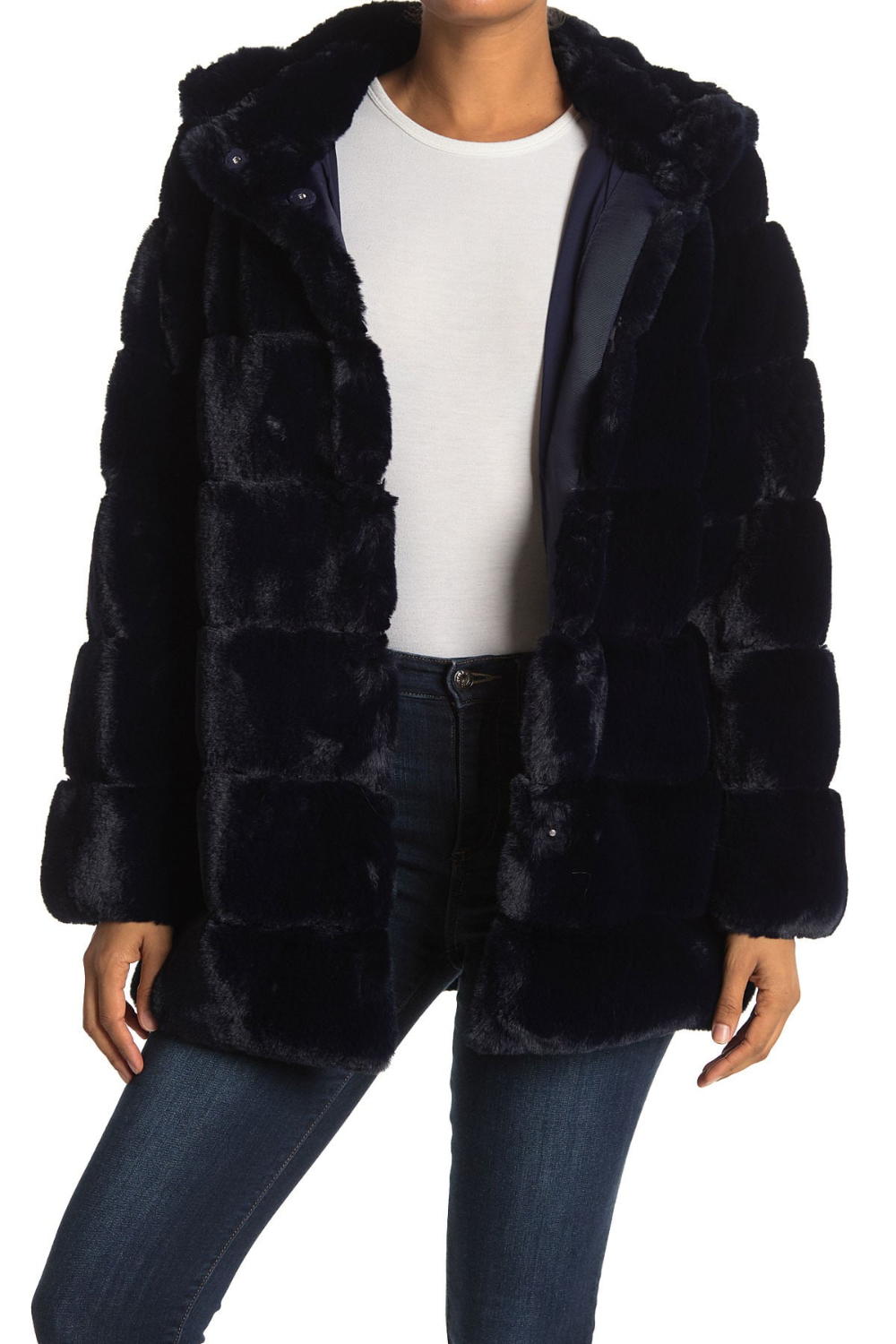 cozy grooved faux fur coat