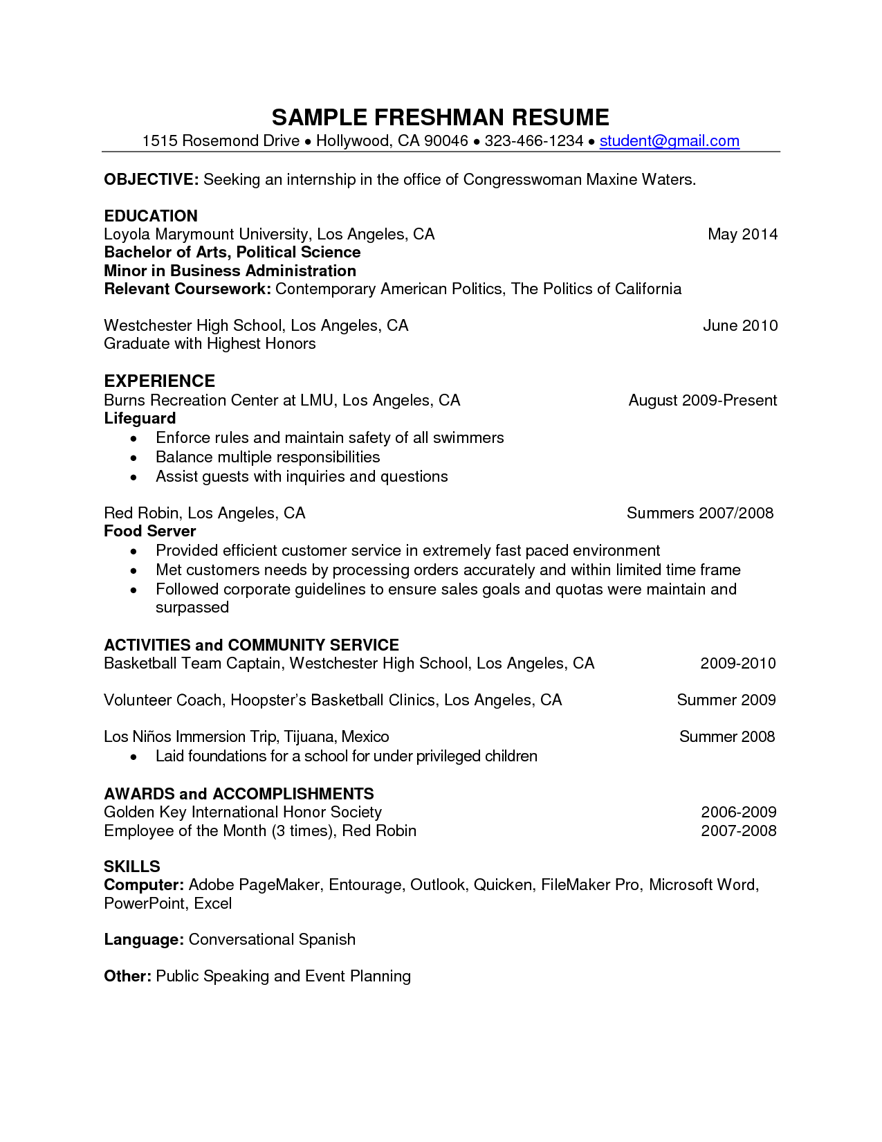 Internship Resume Template Templates For Freshers Httpwwwresumeformatsresume