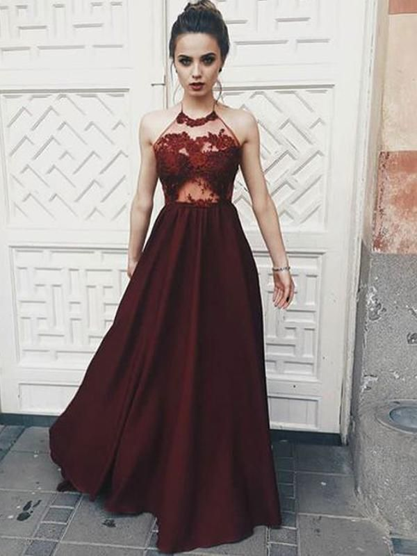 541860e04778 Sexy See Through Maroon Halter Lace Long Custom Evening Prom Dresses, 17409