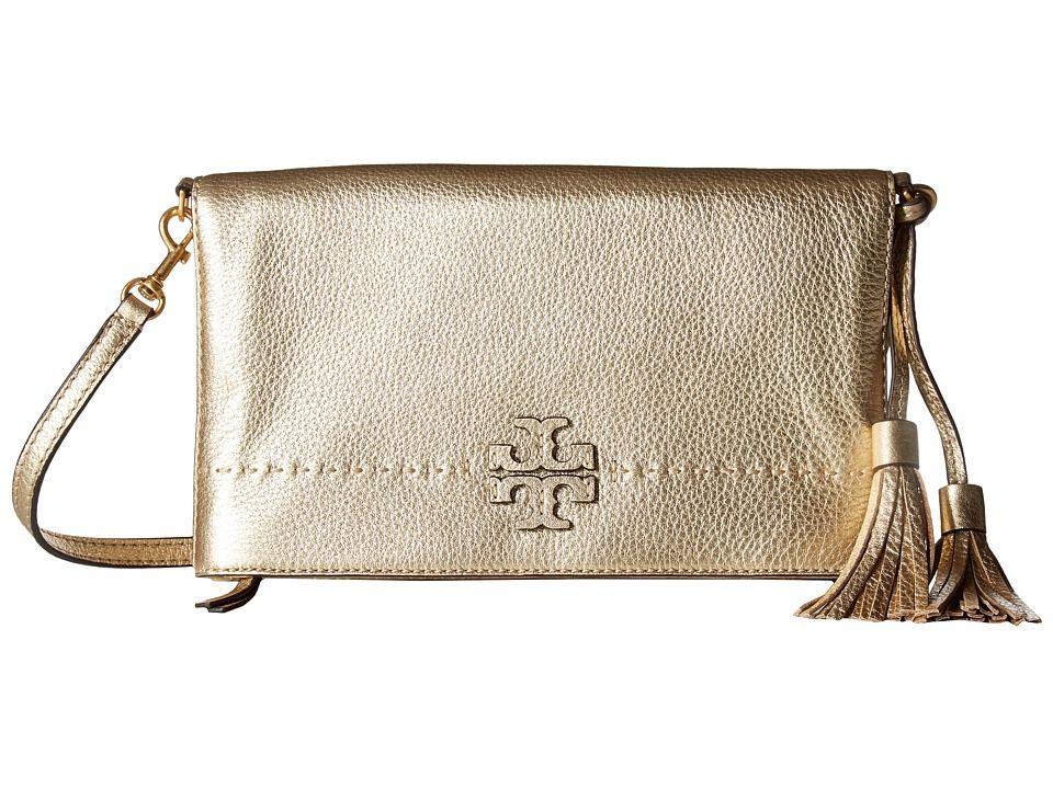 c43162f782 Tory Burch McGraw Metallic Fold-Over Crossbody Cross Body Handbags Gold