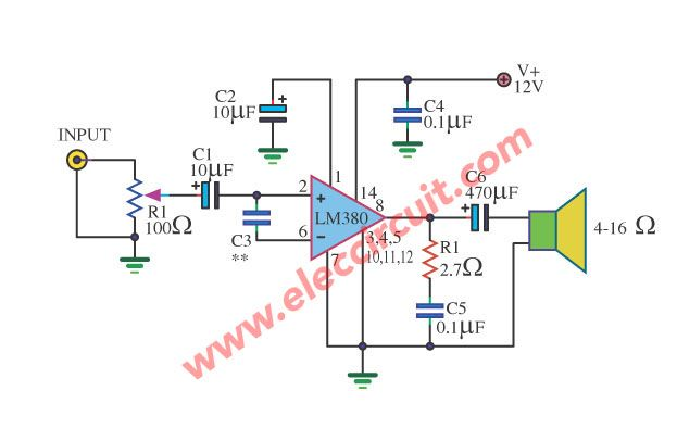 lm380 mini size amplifier circuit 2 watts power amplifiers audio amplifier electronic. Black Bedroom Furniture Sets. Home Design Ideas