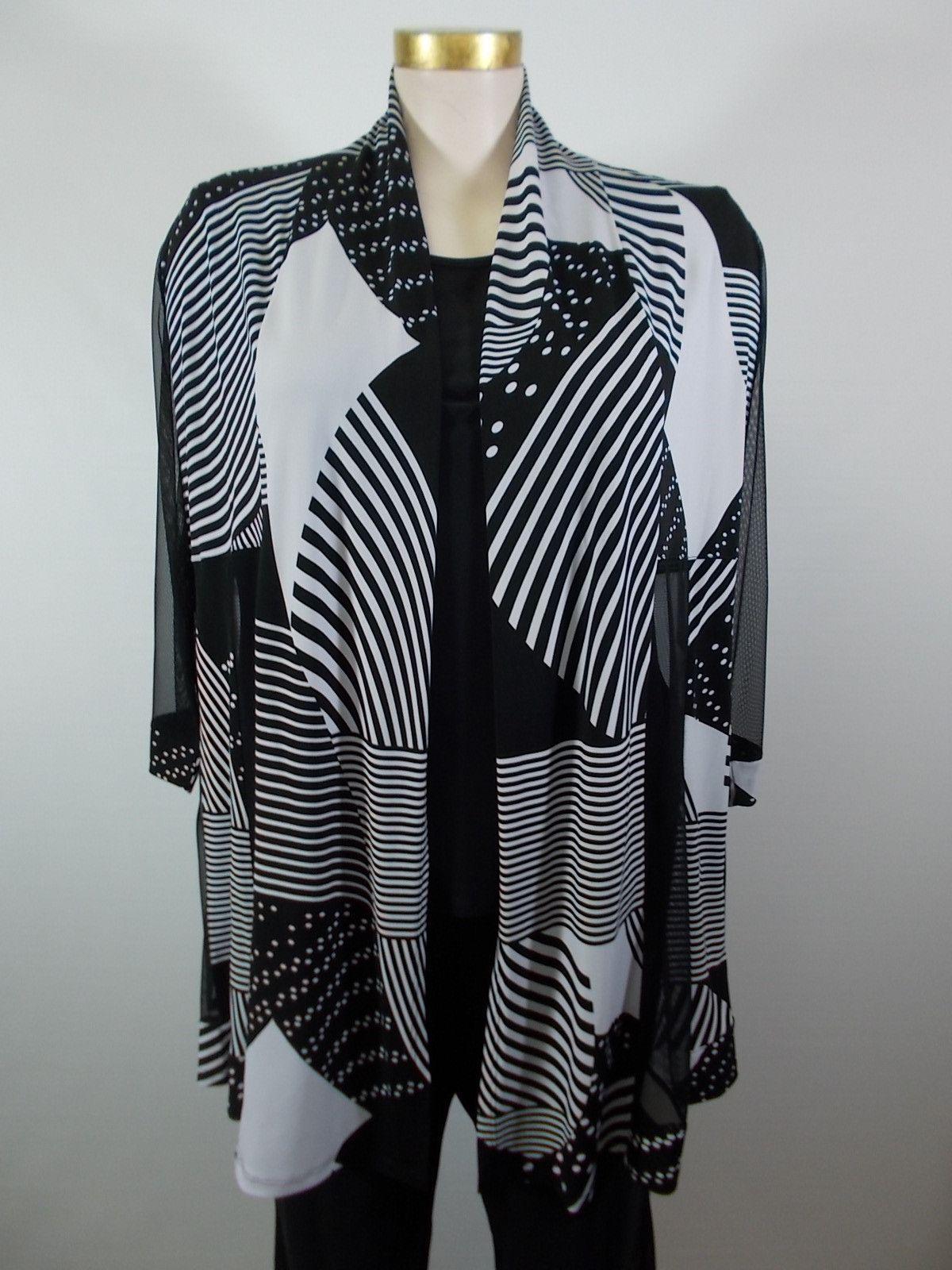 Artex - Black/White 3/4 Sleeve Mix Mesh Open Jacket
