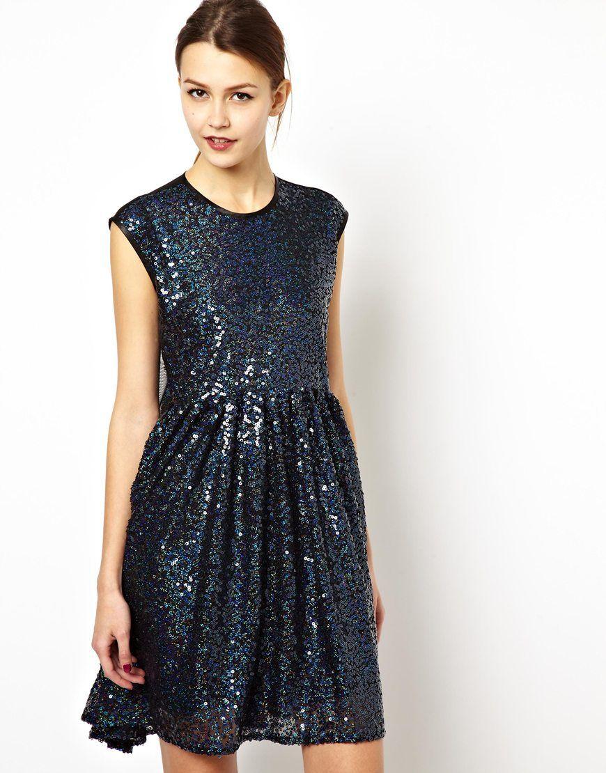 Asos asos multi sequin smock dress at asos my style pinterest